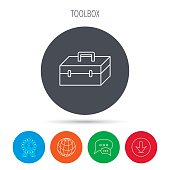 Toolbox icon. Repair instruments sign.