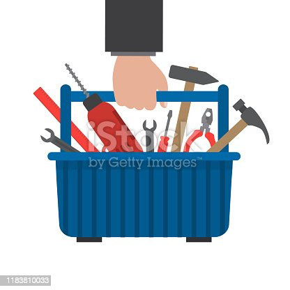 Toolbox in hand. Work tools in a blue box. There is a drill, hammer, screwdriver, wrench, pliers, ruler in the picture. Vector illustration on a white background