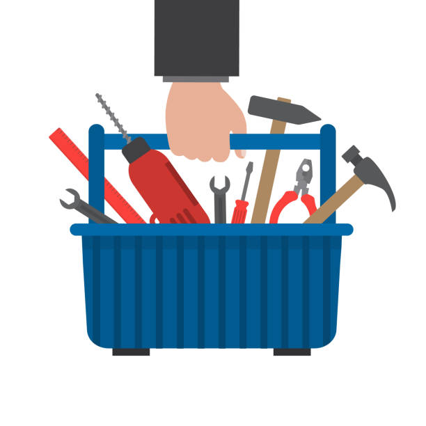 Toolbox in hand. Work tools in a blue box vector art illustration
