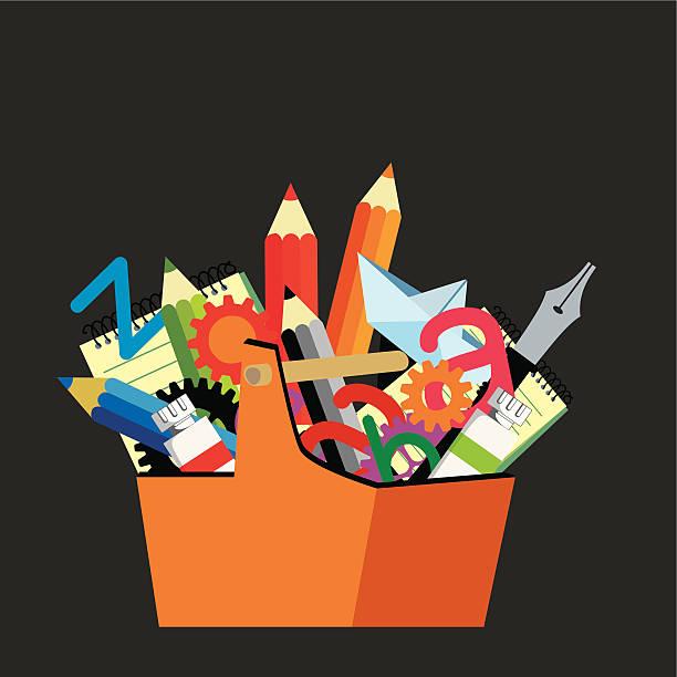ilustraciones, imágenes clip art, dibujos animados e iconos de stock de caja de herramientas - tintanegra00