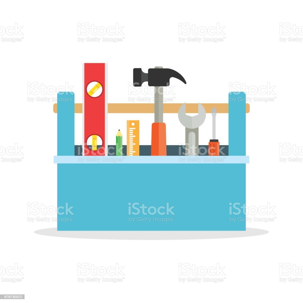 Toolbox with tools. vector art illustration