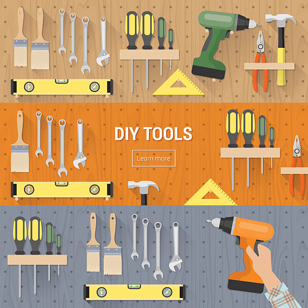 DIY toold banners set DIY tools for carpentry and home renovation hanging on a pegboard, banners set diy stock illustrations