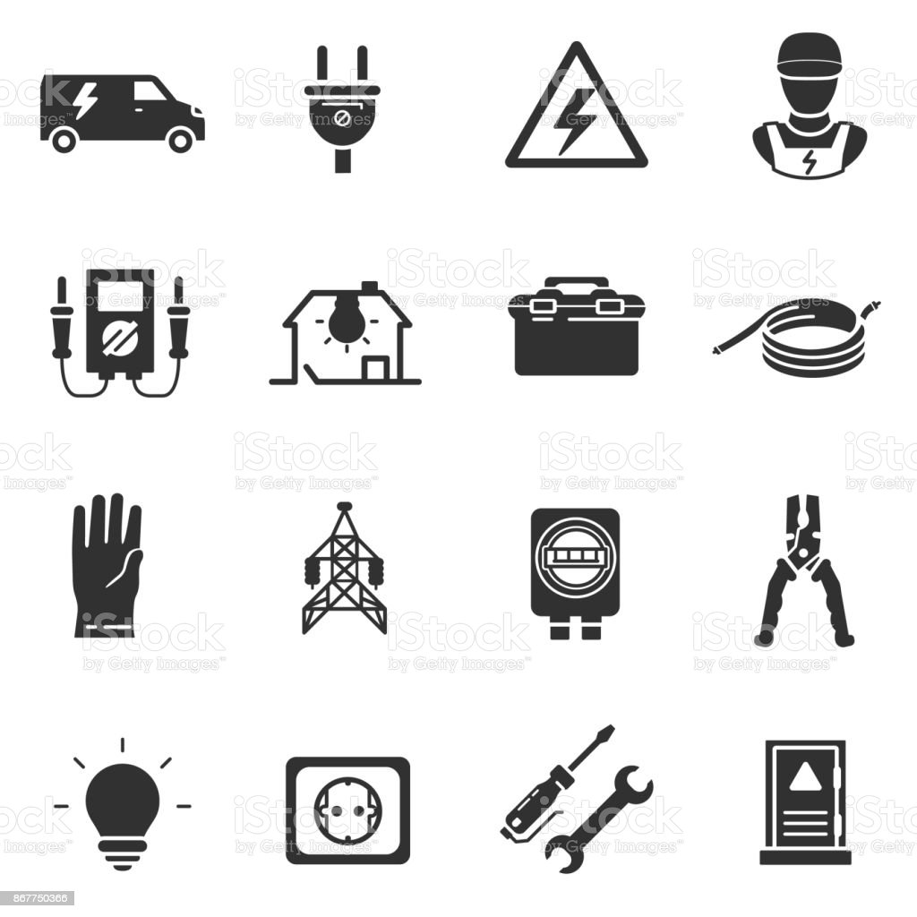 Tools And Equipment For Electrical Work Icons Set Stock Vector Art
