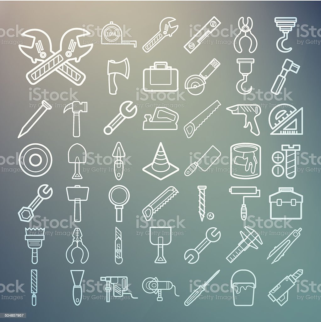 Tools and Equipment icons Set on Retina background royalty-free stock vector art