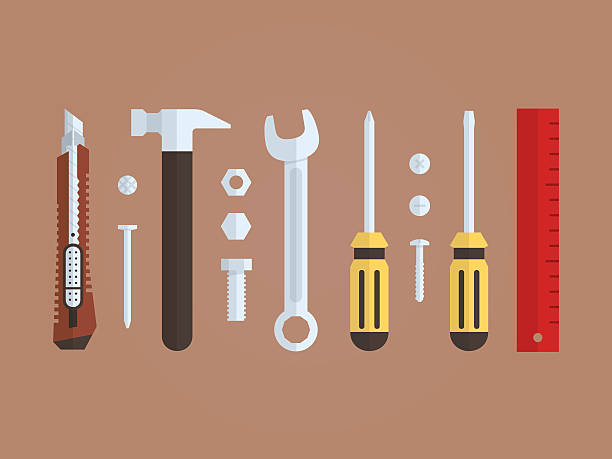 tools and hardware for repairman, flat design - nagelspitze stock-grafiken, -clipart, -cartoons und -symbole