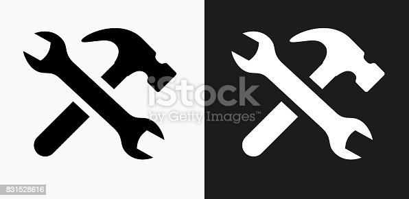 Tools and Hardware Icon on Black and White Vector Backgrounds. This vector illustration includes two variations of the icon one in black on a light background on the left and another version in white on a dark background positioned on the right. The vector icon is simple yet elegant and can be used in a variety of ways including website or mobile application icon. This royalty free image is 100% vector based and all design elements can be scaled to any size.