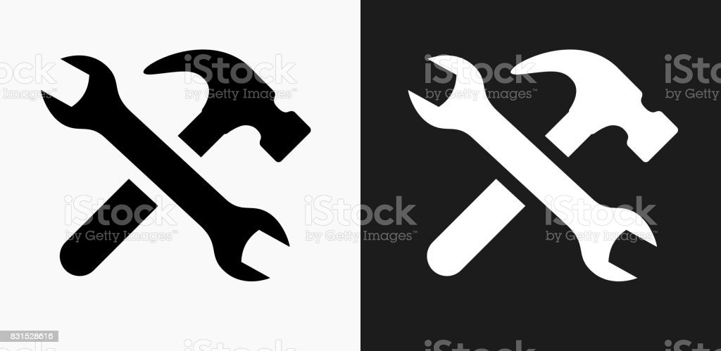 Tools and Hardware Icon on Black and White Vector Backgrounds vector art illustration