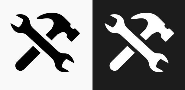 stockillustraties, clipart, cartoons en iconen met hulpmiddelen en hardware pictogram op zwart-wit vector achtergronden - hamer