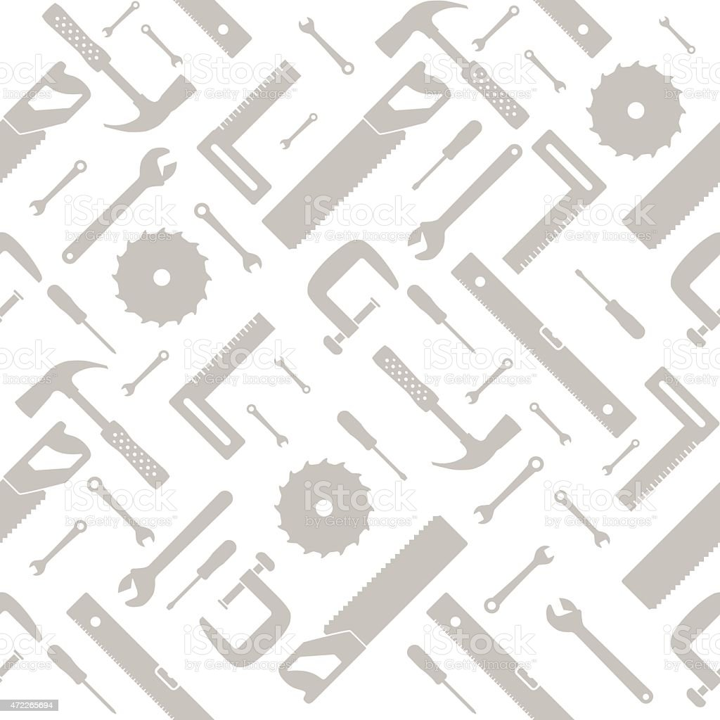 tools and instruments seamless pattern vector art illustration