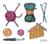 Knitting illustrations. Hand drawn needle, scissors, ball of yarn, knitting needles and crochet