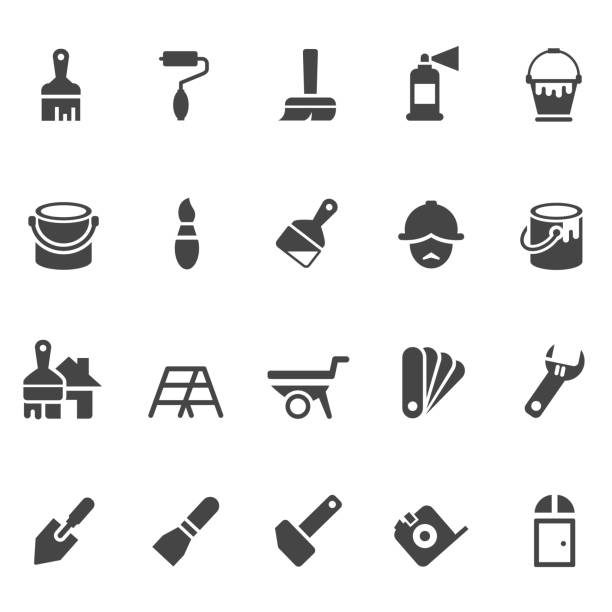Tools and painting icon set Tools and painting icon set paint can stock illustrations