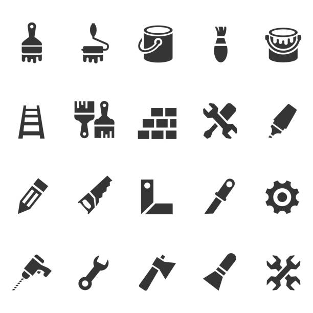 Tools and painting icons Tools and painting icons paint can stock illustrations