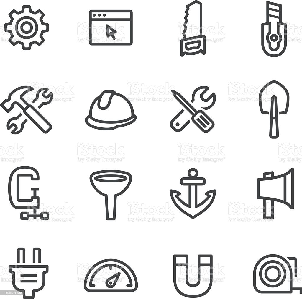 Tools and Settings Icons - Line Series vector art illustration