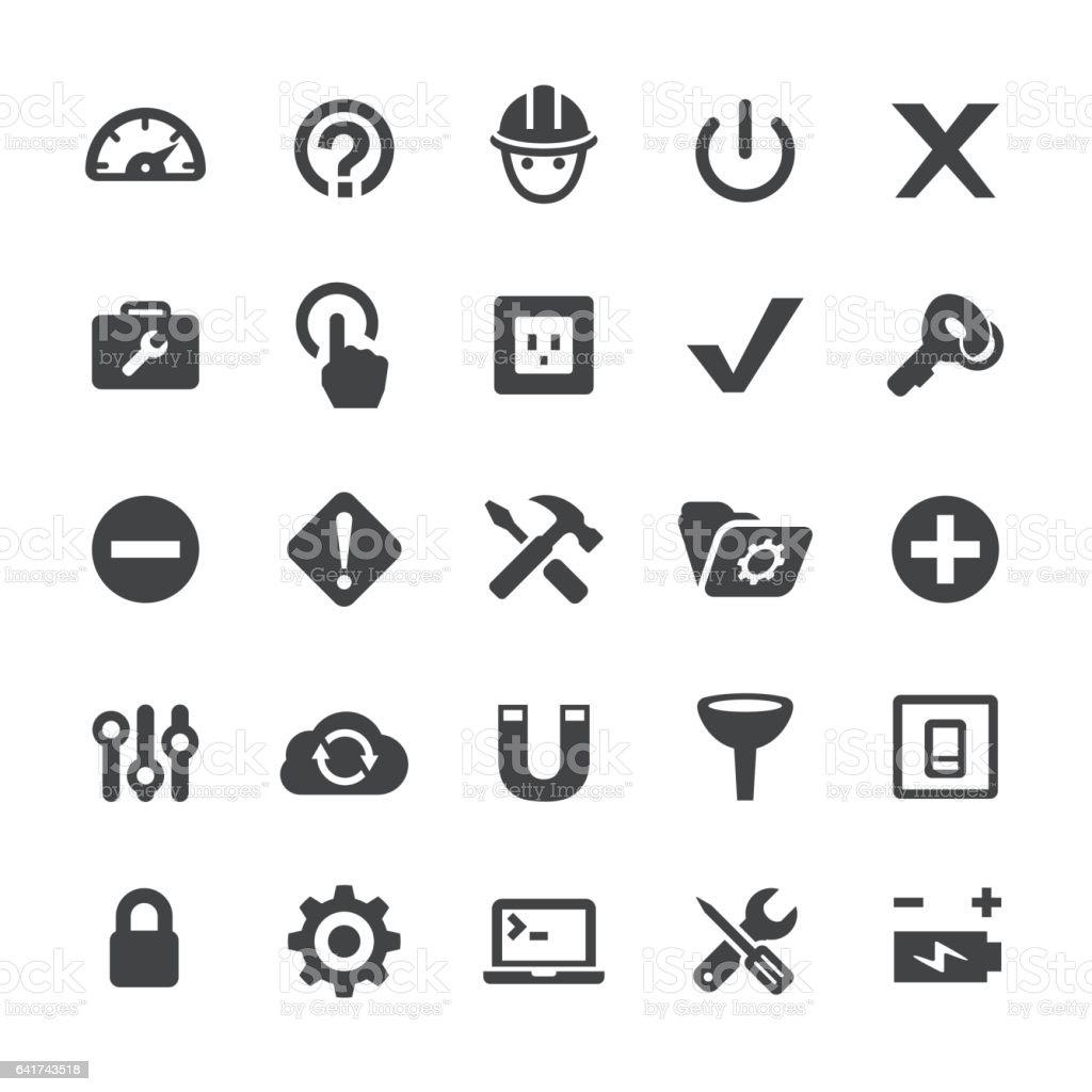werkzeuge und einstellungssymbole smartserie stock vektor art und