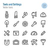 Tools and Settings Icons - Vector Line Series