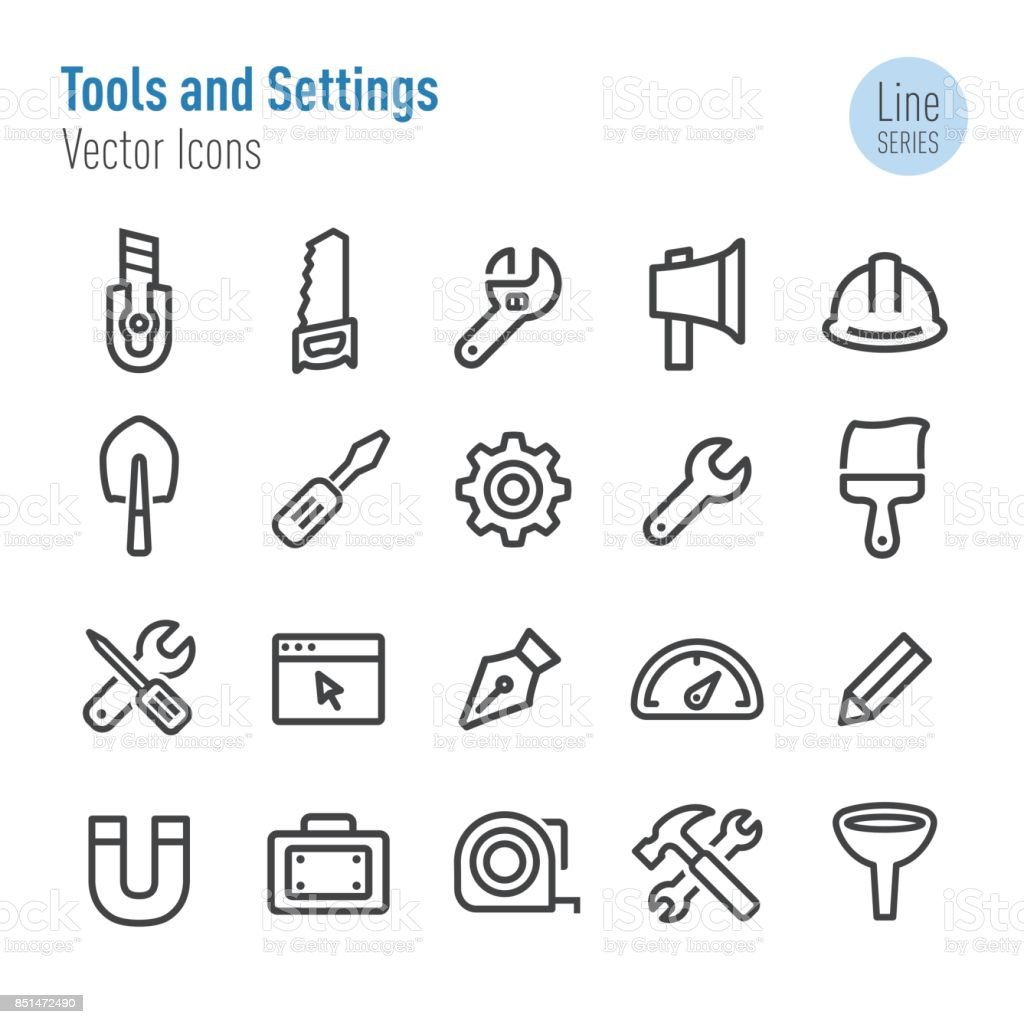 Tools and Settings Icons - Vector Line Series vector art illustration