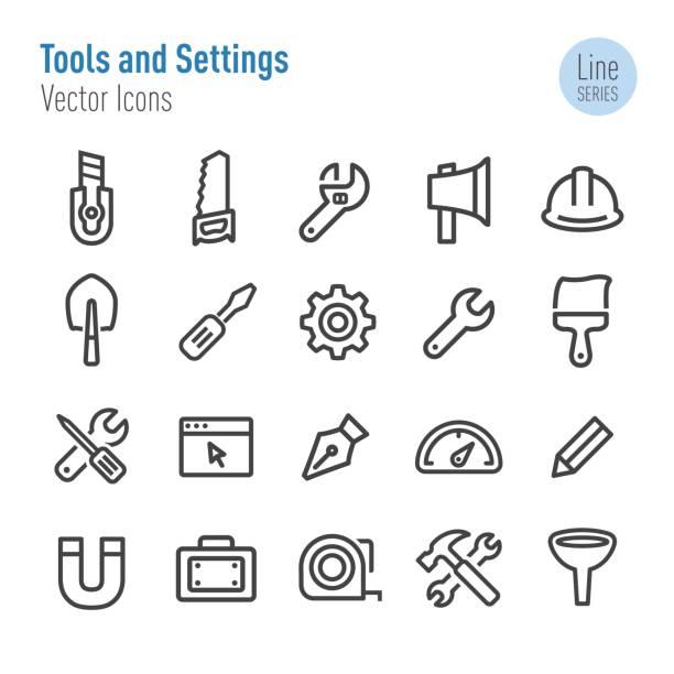 ilustraciones, imágenes clip art, dibujos animados e iconos de stock de herramientas y configuración iconos - vector línea serie - reparador