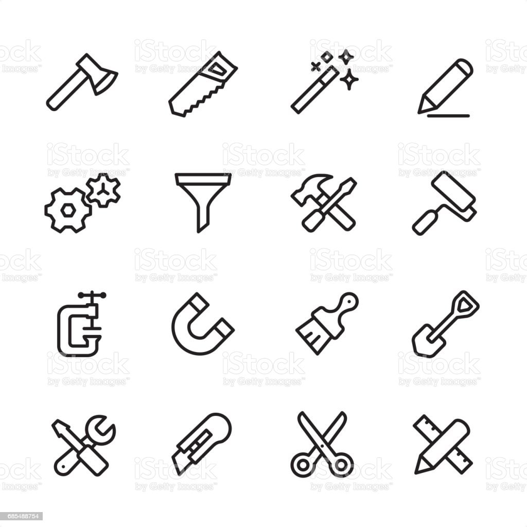 Tools and Settings - outline icon set