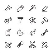 16 line black and white icons / Set #24