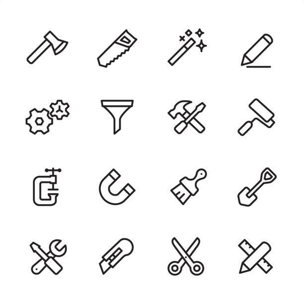 Tools and Settings - outline icon set 16 line black and white icons / Set #24 gardening equipment stock illustrations
