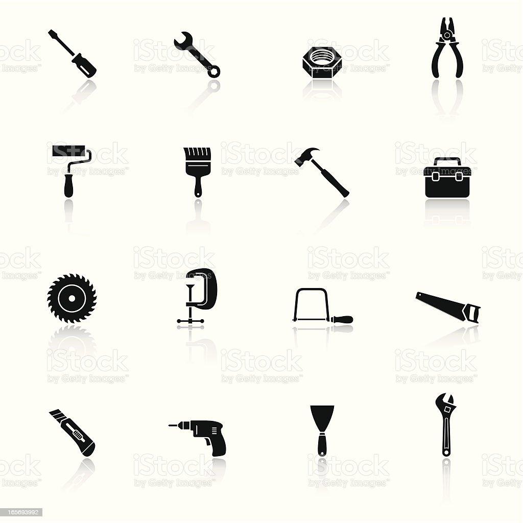 Tools Black & White Icons Set vector art illustration