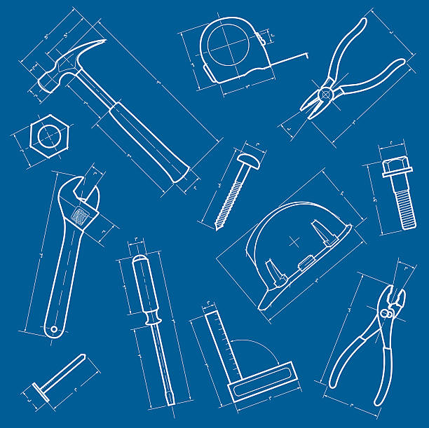 Tools Blueprint Background A vector illustration of a tools background made to look like a blueprint.  File may be scaled to any size without distortion or loss of quality. nail work tool stock illustrations