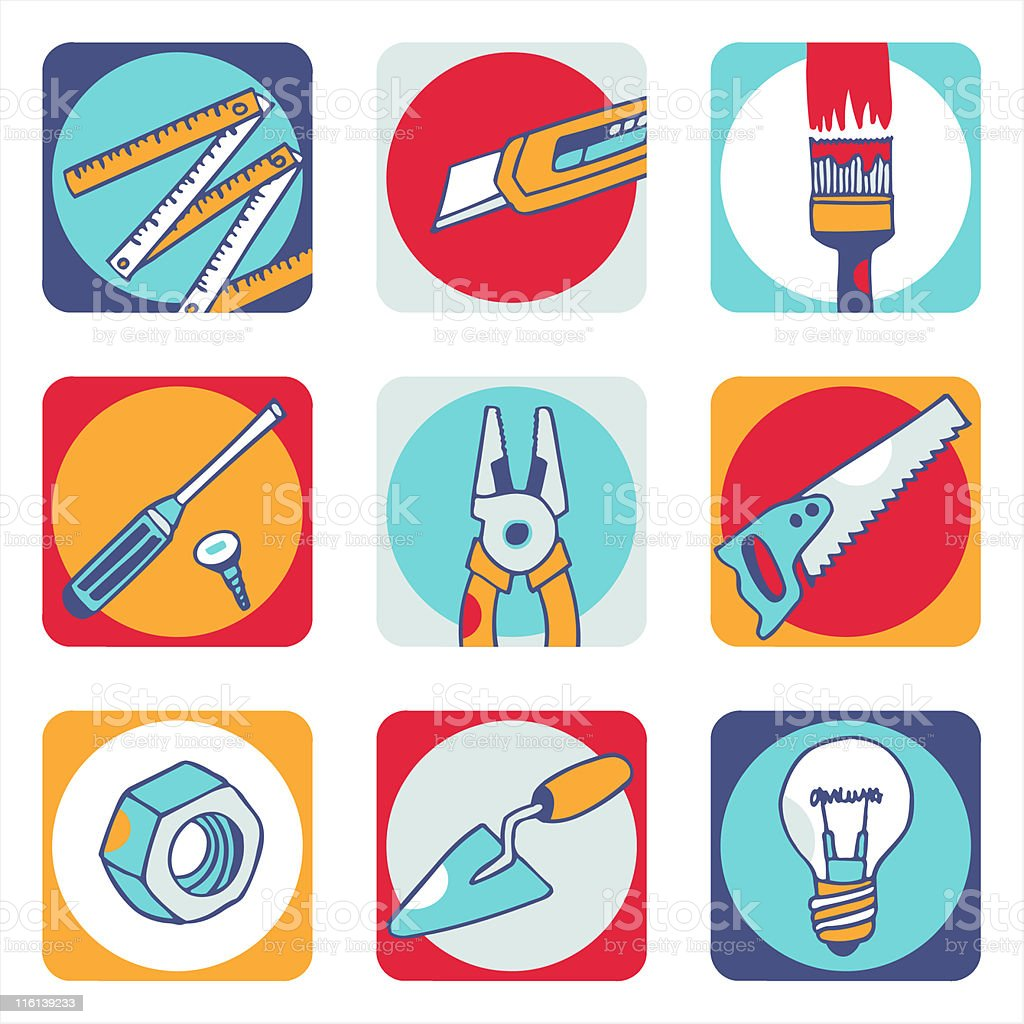 Tools color icons 2 royalty-free tools color icons 2 stock vector art & more images of brushing