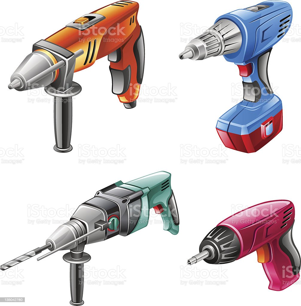 Tools: drill, hammer, screwdriver vector art illustration