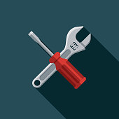 istock Tools Flat Design Car Service Icon 1085051384