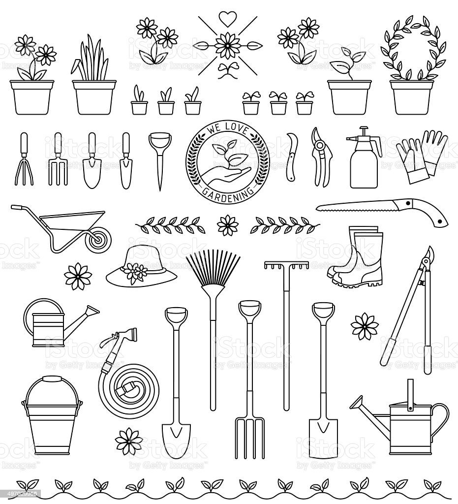 Tools for gardening vector art illustration