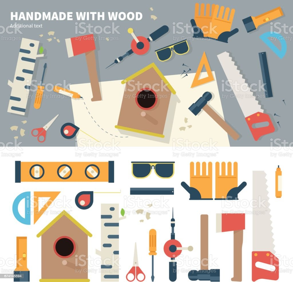 Tools for handmade things vector art illustration