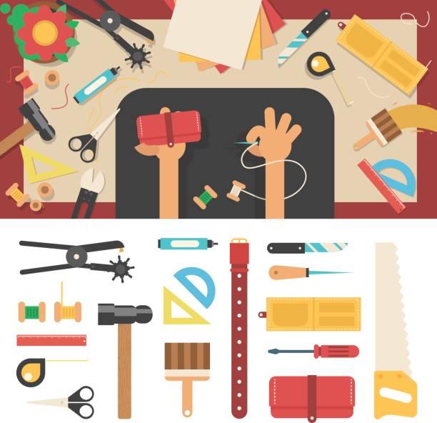 werkzeuge für handgefertigt aus leder - lederverarbeitung stock-grafiken, -clipart, -cartoons und -symbole