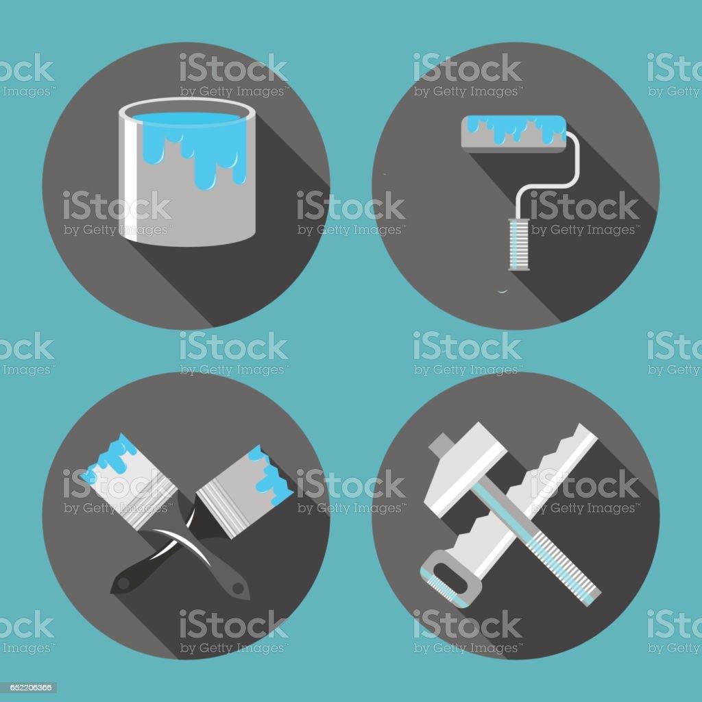 Outils Pour Réparation Pinceau Pots De Peinture Scie Marteau Rouleau