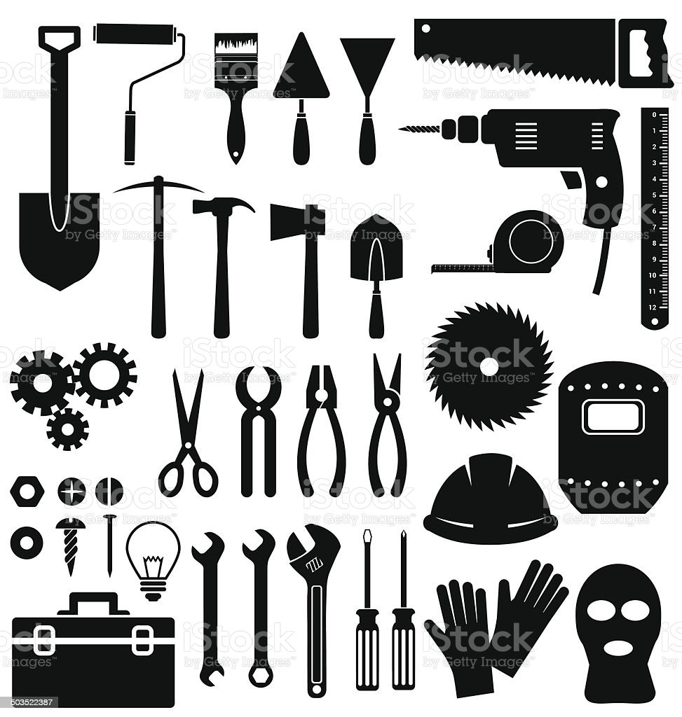Tools icon on white background vector art illustration
