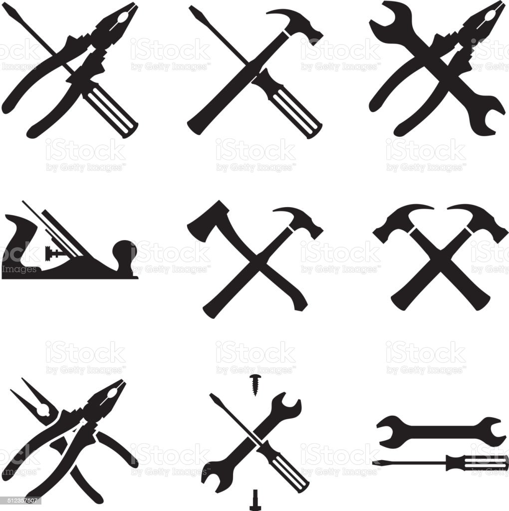 Tools icon set. Icons isolated on white background vector art illustration