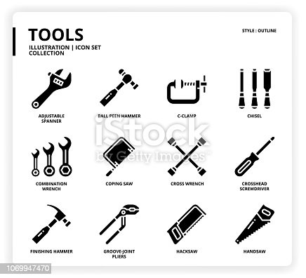 Tools icon set for web design, book, magazine, poster, ads, app, etc.