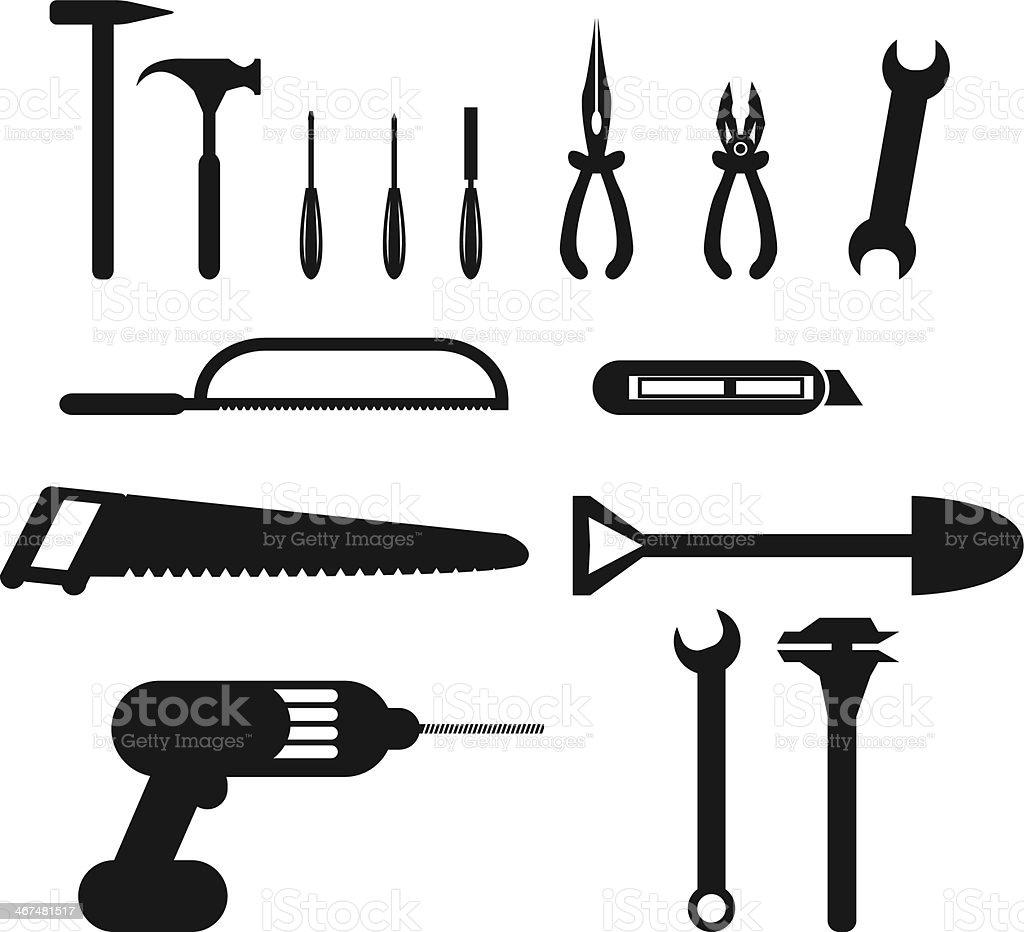 hand tool icon. tools icon set royalty-free stock vector art hand tool
