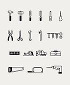 22 Tools icons black