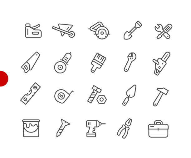 Tools Icons // Red Point Series Vector line icons for  your digital or print projects. gardening equipment stock illustrations