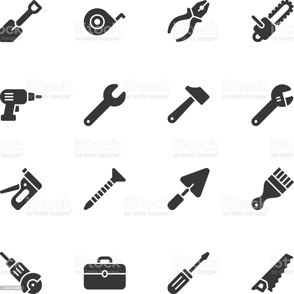Tools icons - Regular vector art illustration