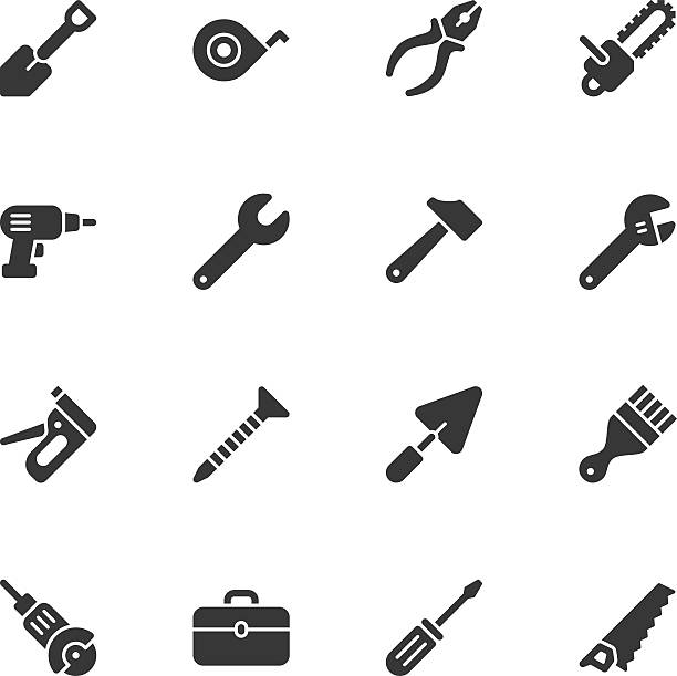 Tools icons - Regular Tools icons - Regular Vector EPS File. screwdriver drink stock illustrations