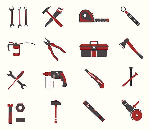 tools symbol set - nagelspitze stock-grafiken, -clipart, -cartoons und -symbole