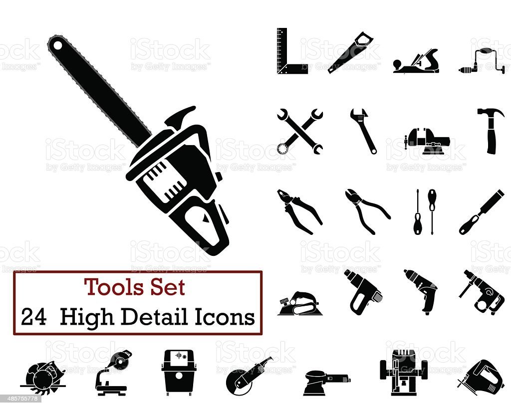 24 Tools Icons vector art illustration