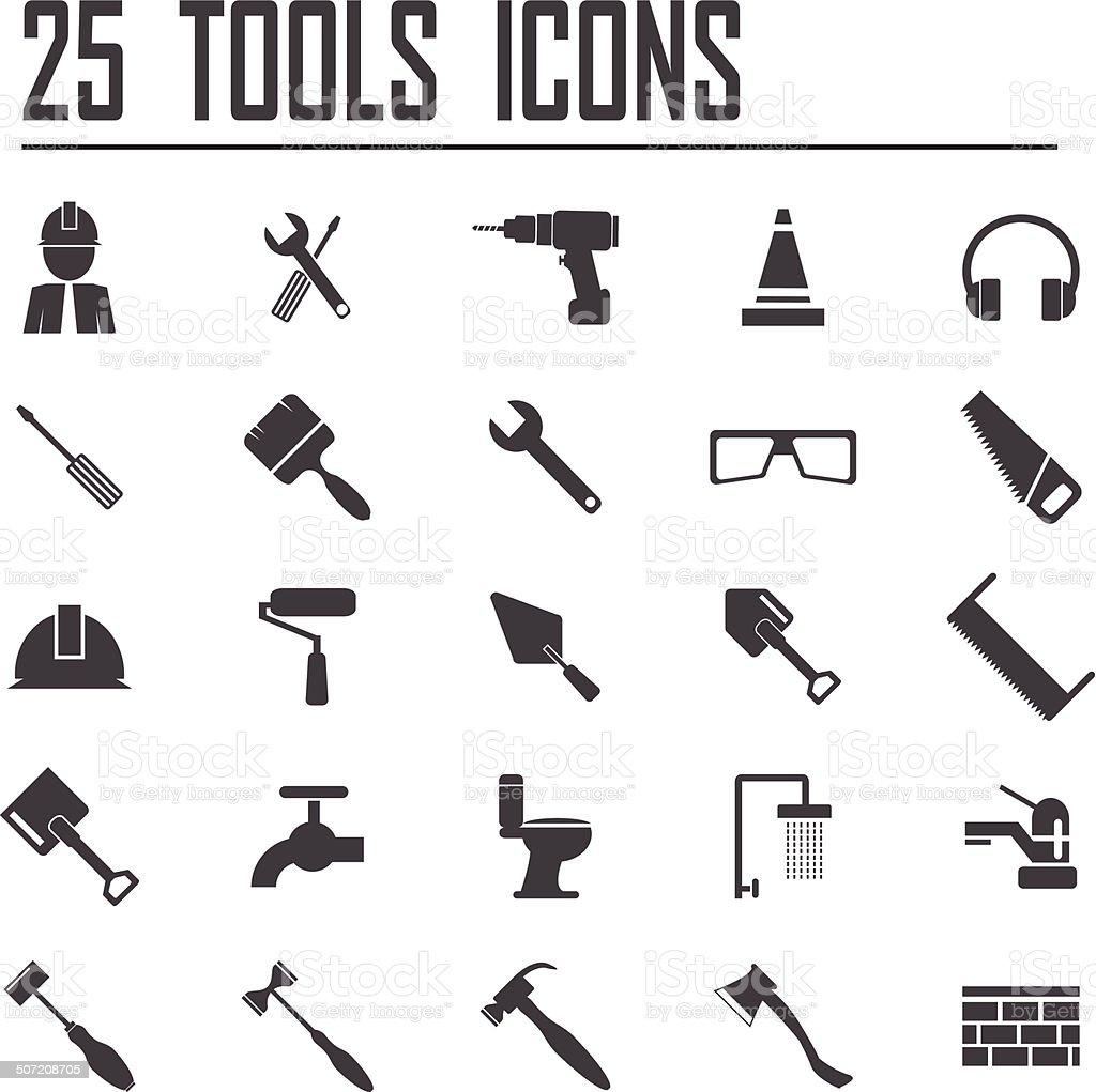 25 Tools Icons vector art illustration