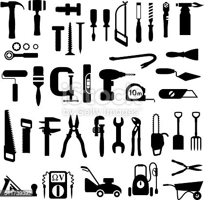 Decorating and construction tools icon set