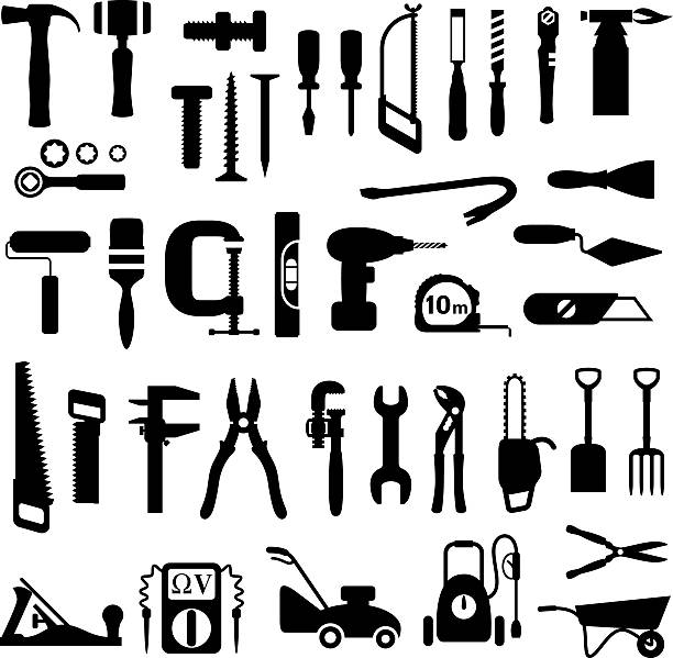 Tools Icons Decorating and construction tools icon set gardening equipment stock illustrations