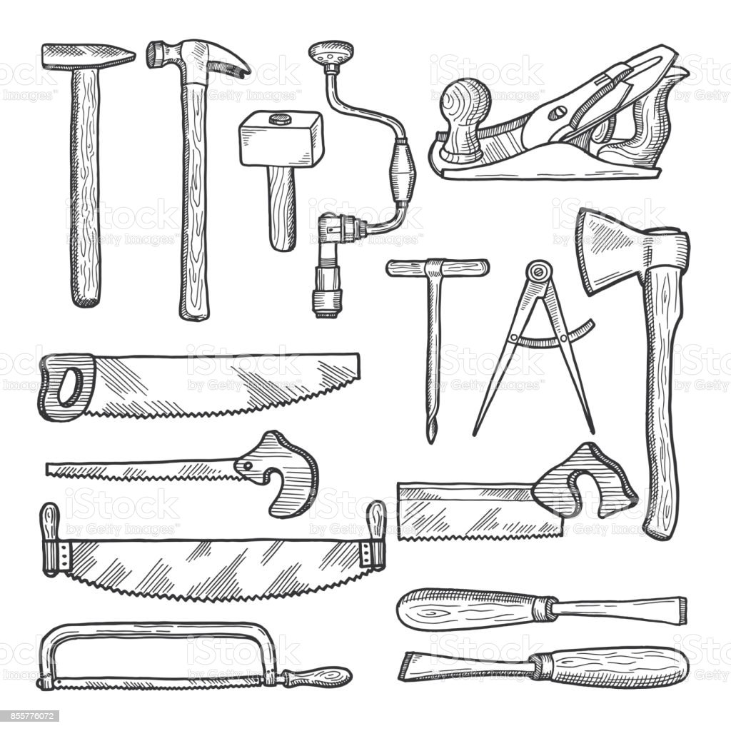 Tools In Carpentry Workshop Vector Hand Drawn Illustration