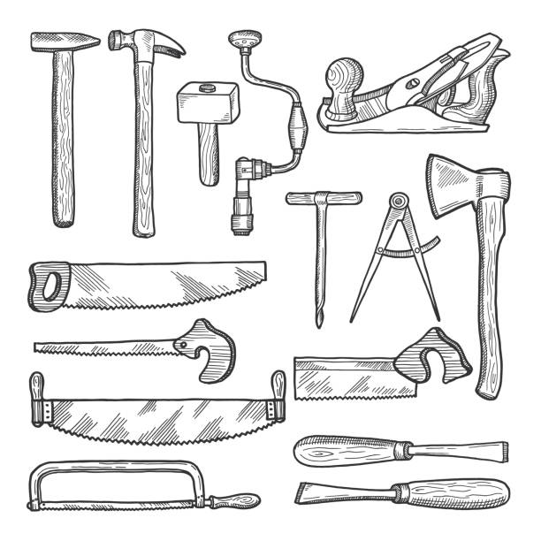 tools in carpentry workshop. vector hand drawn illustration - carpenter stock illustrations, clip art, cartoons, & icons