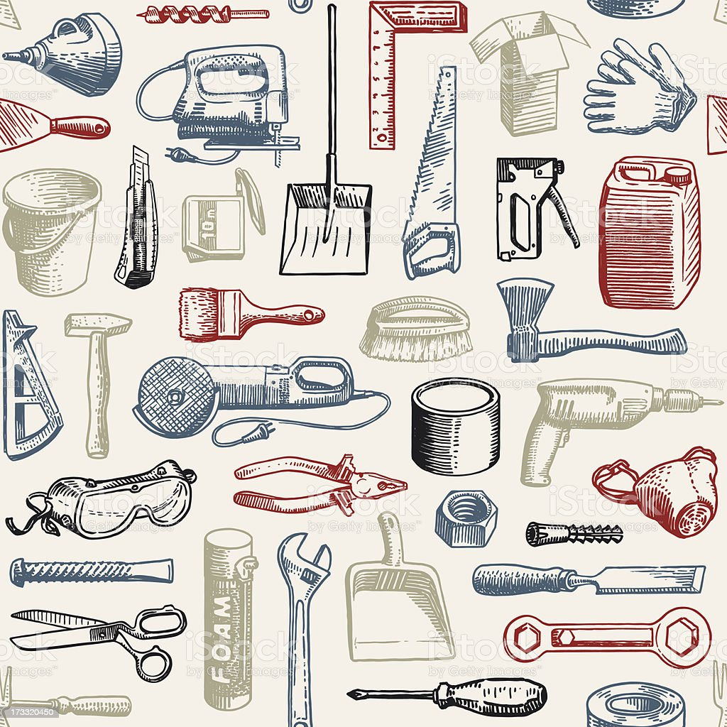 Tools Instruments Seamless Pattern vector art illustration