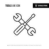 istock Tools Line Icon - Editable Stroke 1193905414